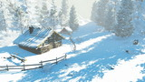 Cozy little hut in the snowy mountains. Daytime winter scene. Realistic 3D animation.