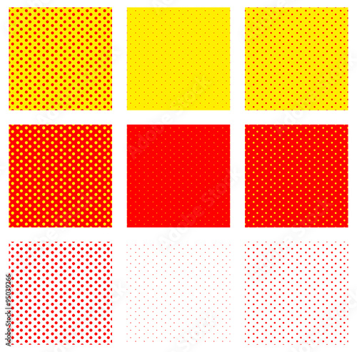 Duotone, red, yellow pop art, polka dot, dotted pattern.