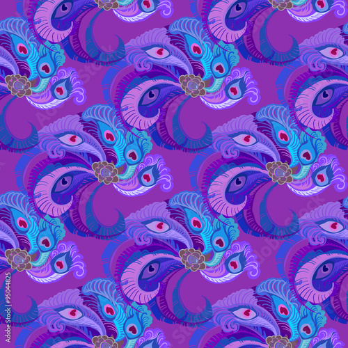 Cotton fabric Violet purple peacock feathers seamles pattern background.