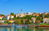 Fototapety Belgrade from river Sava with tourist riverboats on a sunny day, Serbia