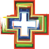 Abstract artistic colorful cross in tempera or watercolor