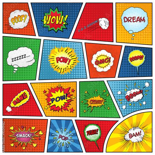 Tuinposter Pop Art Set of comic sound effects