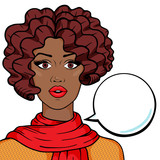 Fototapety Young african american woman thinking with speech bubble for your text isolated on white background, pop art comic style vector illustration. Closeup attractive afro woman face.