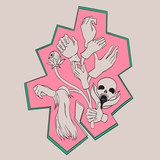 Abstract doodling design. Tree which grows hand. The image also includes the skull, leaves, eye.
