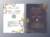 Fototapety set of universal vintage hand drawn card and  brochure vector il