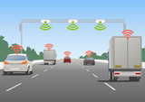 Fototapety Highway communication system and vehicles, vector illustration