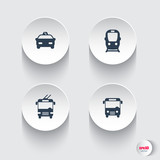 Fototapety City transport, round 3d icons, vector illustration