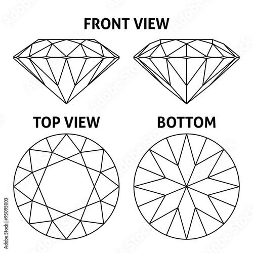 Cztery strony diament, wektorowa ilustracja