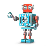 Fototapety Retro robot. Isolated. Contains clipping path