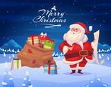 Fototapety Funny santa. Christmas greeting card background poster. Vector illustration