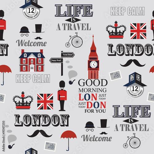 Tapeta London newspaper seamless background