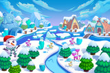 Fototapety Illustration: The Entrance of the Snow World! Snow Man, Green Trees and Small Flowers, Ice Mountain, River, Snow Houses and Ice Igloo. Realistic Cartoon Style Scenery / Wallpaper / Background Design.