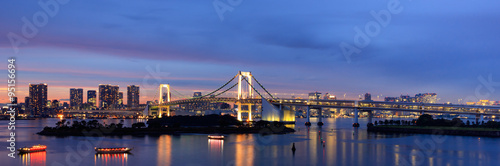 Fotobehang Nieuw Zeeland Panorama of Rainbow Bridge at night, Tokyo, Japan