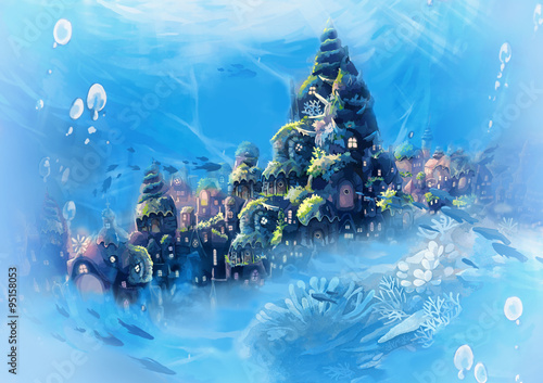 Fototapeta Illustration: Sea City - Vintage Version - Blue. Realistic Cartoon Style. Fantastic Sci-Fi Scene / Wallpaper / Background Design.