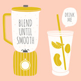 Doodle blender and glass with a straw. Kitchenware for smoothie. Cooking illustration