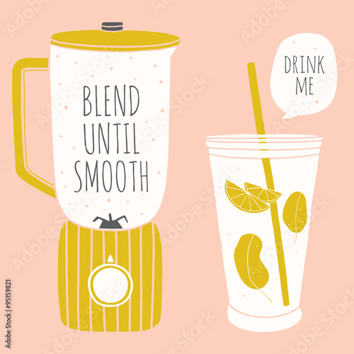 Doodle blender and glass with a straw. Kitchenware for smoothie. Cooking illustration  - 95159821