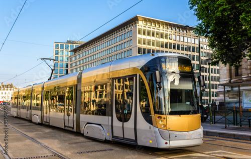 Fotobehang Brussel Tram on Place Poelart in Brussels - Belgium