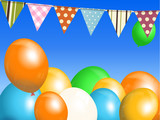 Balloons and bunting over blue sky