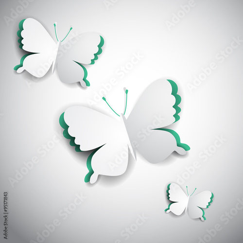 Fototapeta 3d vector paper butterfly, realistic illustration for greeting card, project cover design