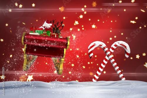 Keuken foto achterwand Bordeaux Composite image of santa flying his sleigh