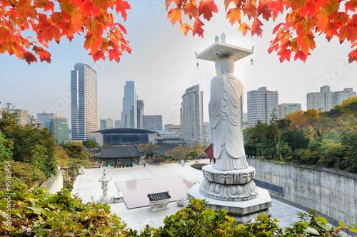Fotobehang Seoel Bongeunsa Temple in autumn red leaves Seoul, Korea.