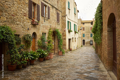 Fototapeta traditional pictorial streets of old italian villages