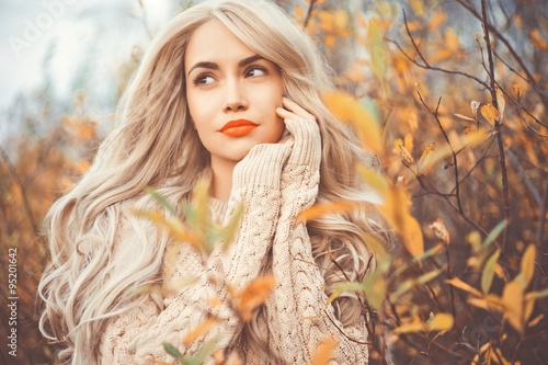 Beautiful lady surrounded autumn leaves - 95201642