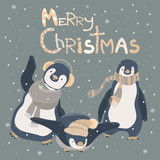Funny penguins friends celebrating Christmas