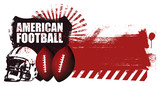 american football shield with stencil red banner