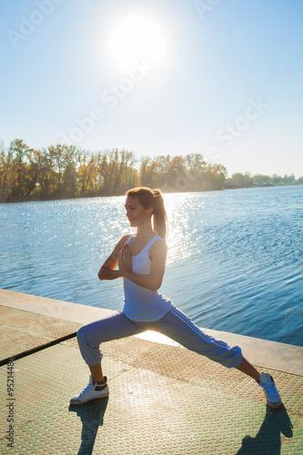 fitness girl at lake Plakát