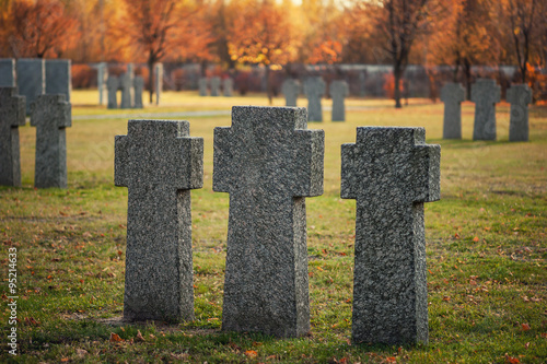 Poster German military cemetery with granite crosses, Kiev, Ukraine