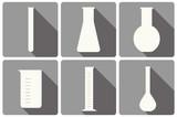 vector set of laboratory glassware flat icons: tubing, beaker, measurement glass