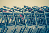 Close - up Row of shopping cart at department store