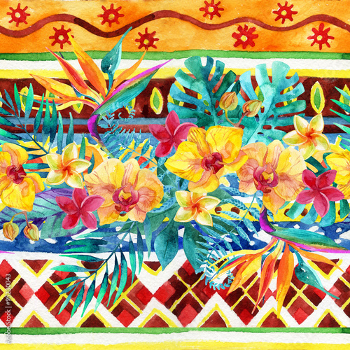 Tropical leaves and flowers on ornamental background. Floral design background. - 95230043