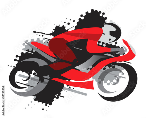 Foto op Plexiglas F1 Motorbike racing. Motorcycle competitor on the grunge background. Vector available.