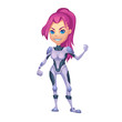 ������, ������: Illustration: The Girl the Team Leader of Tramp Boy Scouts which is a Space Pirates Team Character Design in a Fantastic Science Fiction World Called The Garbage Planet Cartoon Sci Fi Style