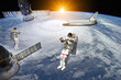 Постер, плакат: Astronauts Space Station and Shuttle in outer space Elements of this image furnished by NASA