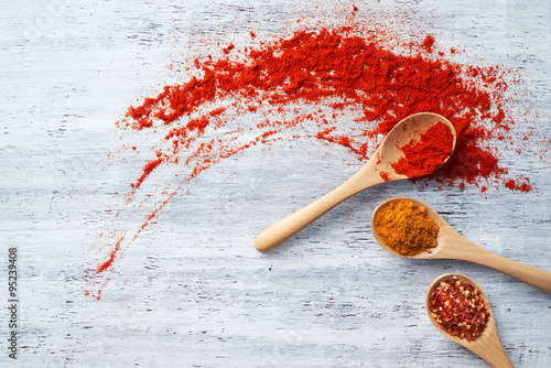 Fotobehang Hot chili peppers Spices on Wooden Spoon