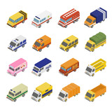 Fototapety Utility Transport Icon Set. Flat 3d Isometric
