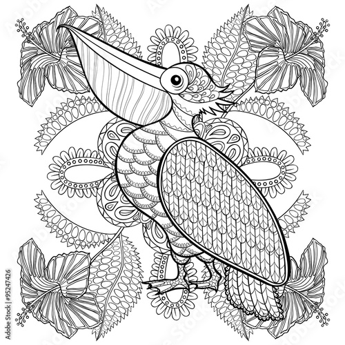 GamesAgeddon - Coloring page with Pelican in hibiskus flowers ...