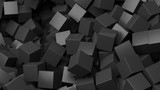 Fototapety 3D black cubes pile abstract background