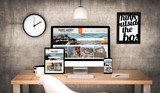 Fototapety office workplace with travel agency devices collection