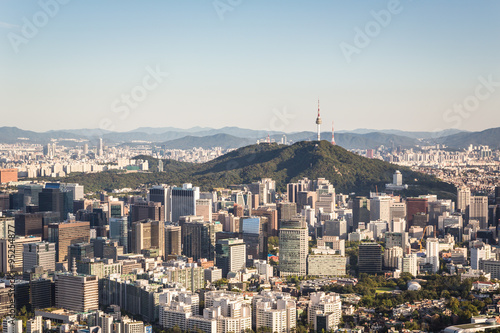 Poster Aerial view of Seoul, South Korea capital city