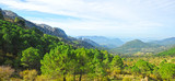 Panoramic view of the Sierra  of Grazalema Natural Park, Cadiz province, Spain