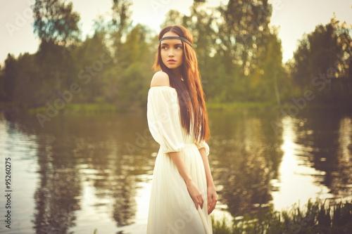 Bohemian lady at river - 95260275