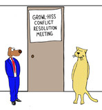 Business cartoon showing business dog and business cat about to enter