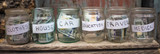 Glass jars with dollars and text: house,car, travel, education,clothes, medical.