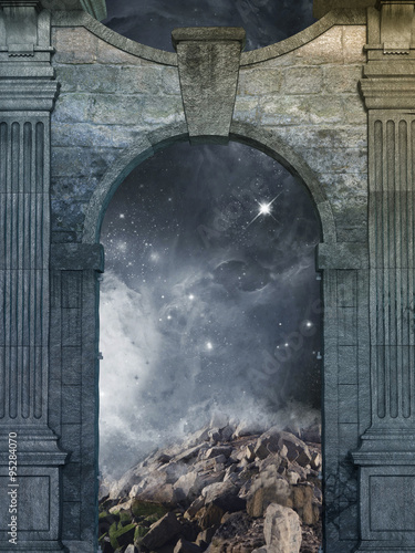 Naklejka magical door with galaxy inside and old structure