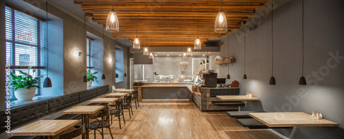Interior of restaurant. Panorama. Wooden design.