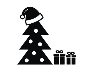 christmas tree and hat, vector black icon